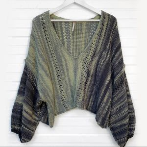 Free People Cropped Knit Striped Sweater